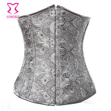 Sexy Corset Underbust Waist Trainer Espartilhos E Corpetes Paisley Jacquard Gothic Clothing Corselet Waist Training Corsets