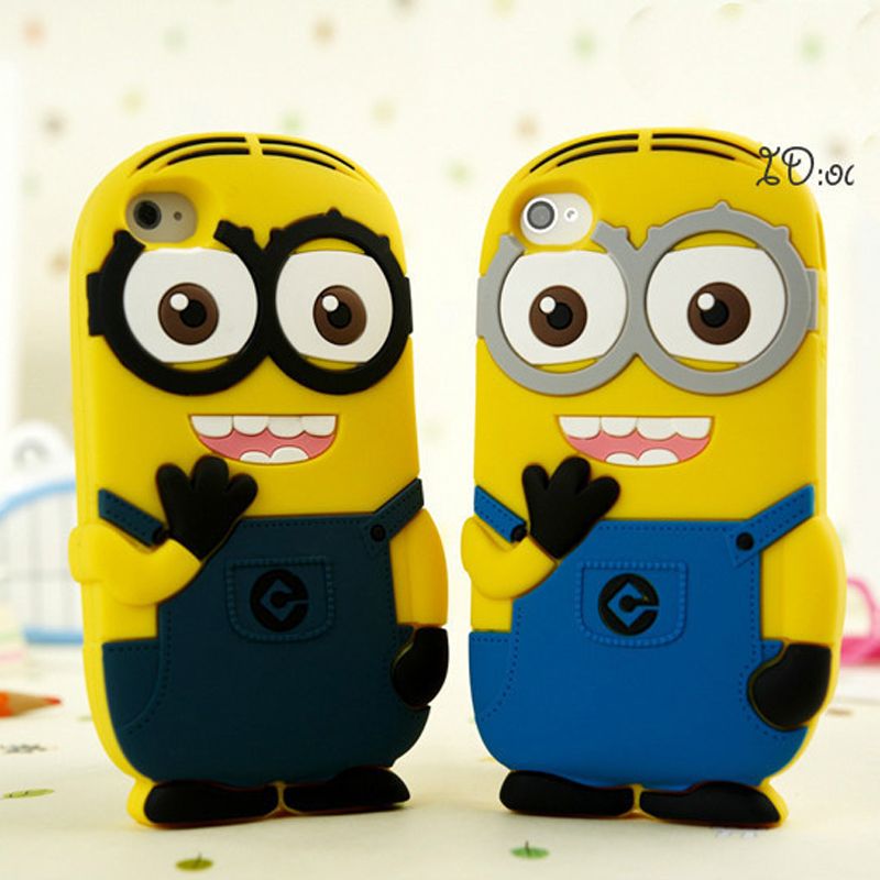 1pc retail free ship! novelty Despicable Me 2 minions 3D soft silicone case cover for iPod Touch 4 4th(China (Mainland))