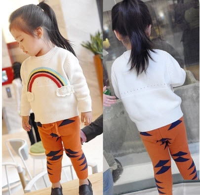 Bright & cheerful children's handmade cardigan, knitted sweater CROCHET rainbow toddler girl's sweater jumper bebe fille clothes(China (Mainland))
