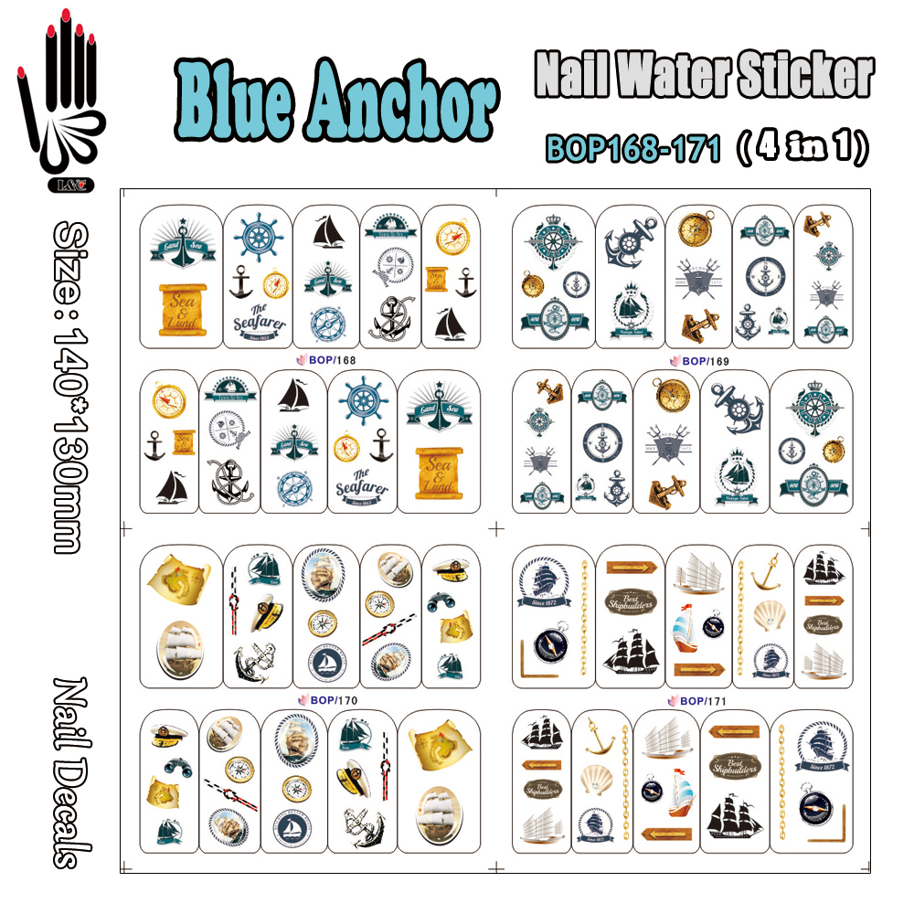4 Sheets/Lot Nail Sticker BOP168-171 Blue Anchor Nail Art Wrap Water Sticker for Nail Art Accessories(4 DESIGNS IN 1)(China (Mainland))