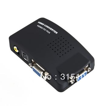 Free Shipping PC Laptop Composite AV/S Video To VGA TV Converter Monitor Adapter Switch Box