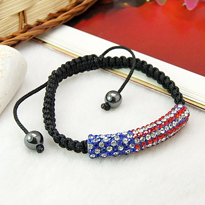 National Flag Bead Bracelets, Grade A Rhinestone Shamballa Bracelets, Nice Patriotic Gifts for USA, RoyalBlue(China (Mainland))