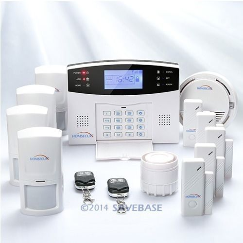 HOMSECUR Wireless&wired GSM Home Security Alarm System +PIR Sensor +Smoke Sensor(China (Mainland))