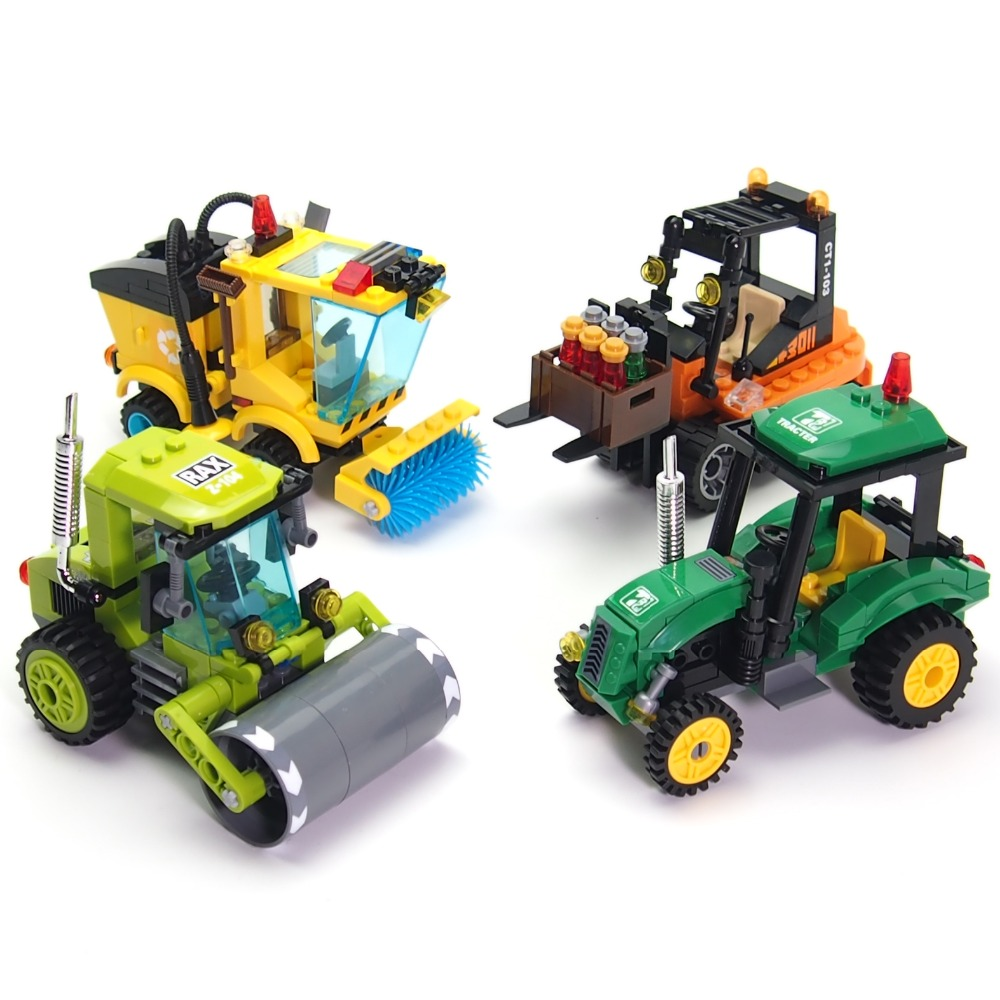 City Series Sweeper Truck Bulldozer Building Blocks Compatible with legoes Toys Assemble Kids(China (Mainland))