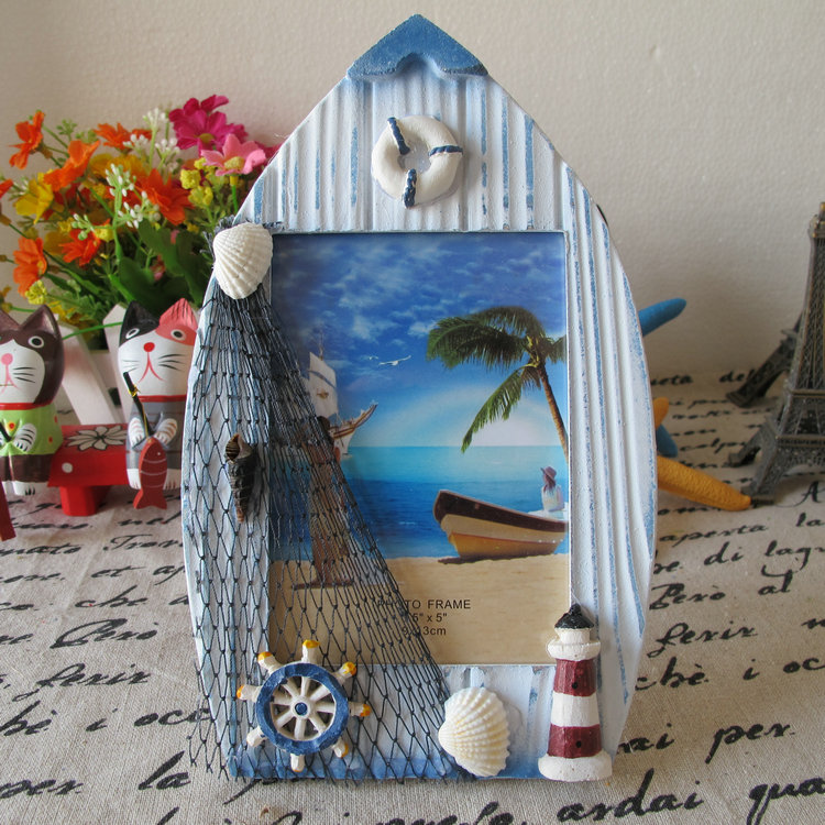 Boat photo frame photo frame retro finishing handmade wool for Photo decoration