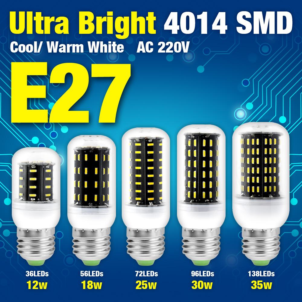 Super Bright 12W 18W 25W 30W 35W 4014SMD AC 220V E27 LED Corn Bulb Lamp Cool/Warm White Light,Energy Saving(China (Mainland))