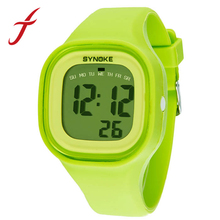 SYNOKE New Fashion Colorful Silicone Waterproof LED Light Digital Sport Wrist Watch Watches Kid Women Girl Men Boy Free Shipping(China (Mainland))