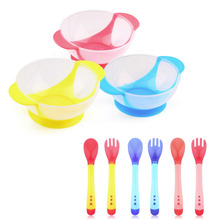 Baby Bowl Slip-resistant Tableware Set Infants feeding Bowl With Sucker and Temperature Sensing Spoon Suction Cup Hot Selling