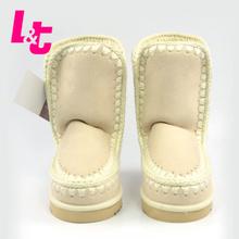 L & T mujeres nieve botas de gamuza de alta calidad Hechos A Mano esquimal clásico botines pisos sólidos zapatos de las señoras botas mujer(China (Mainland))