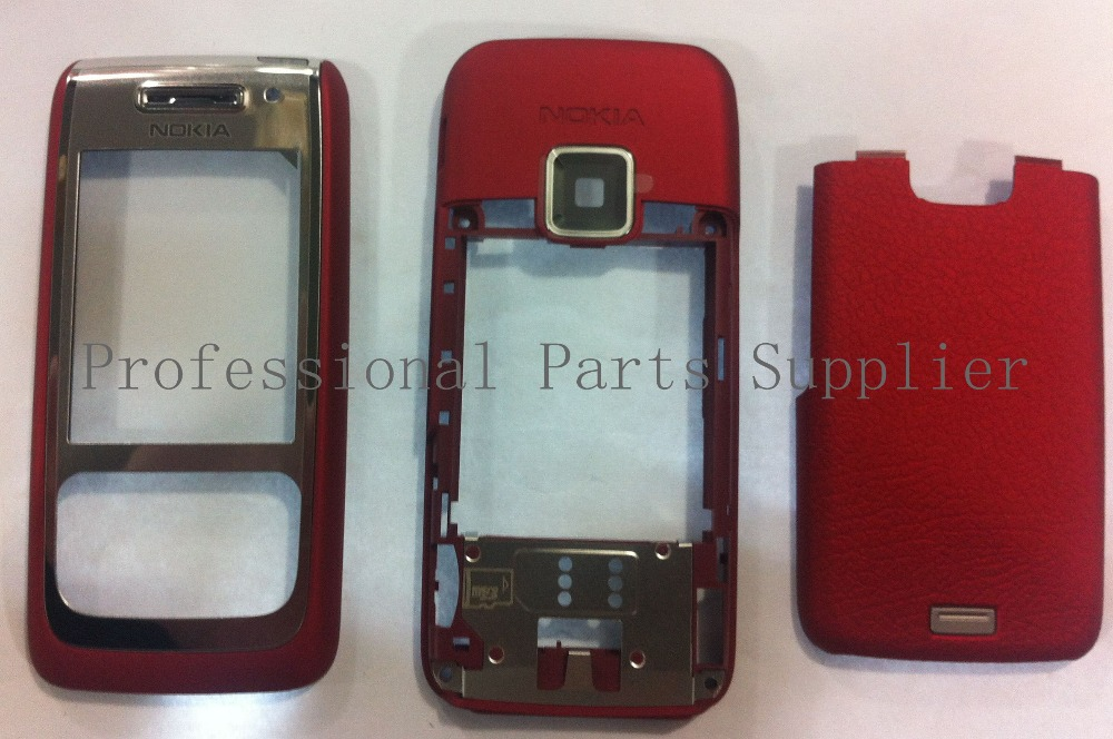 For Nokia E65 Red or Mocca New High Quality Housing Cover Case Front Faceplate+Middle Bezel+Battery Door+Tools, free shipping(China (Mainland))
