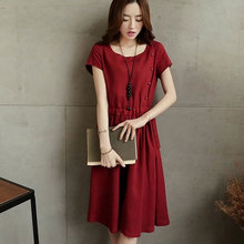New Vintage Slim Waist Casual Women Dress Plus Size Dresses Clothing Simple O-Neck Knee Length Dress Summer Wear (China (Mainland))