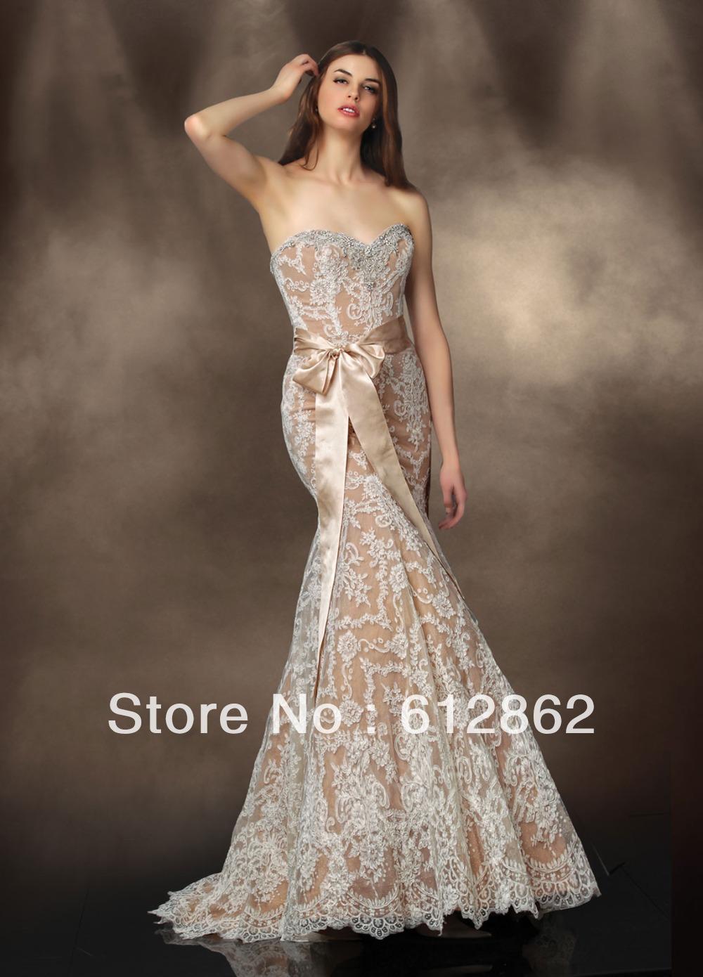 Turmec » champagne lace strapless wedding dress