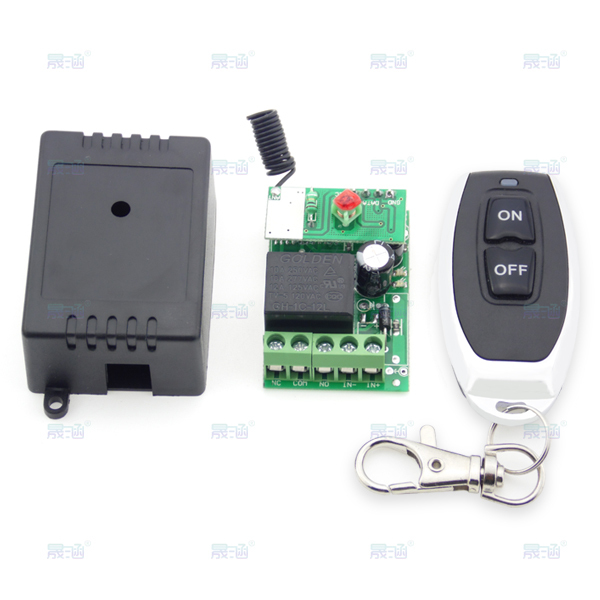 DC 12V single channel wireless remote control switch + Metal two-button wireless remote control (button graphic: Black ON / OFF)(China (Mainland))