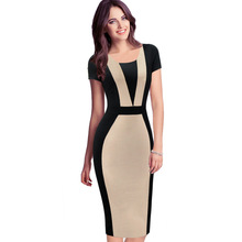Vfemage Womens Elegant Optical Illusion Colorblock Contrast Modest Slim Work Business Casual Party Sheath Pencil Dress 2138(China (Mainland))
