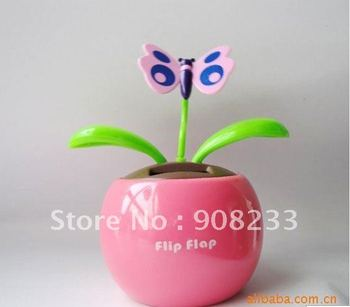 Dancing Flower Solar,Solar Powered Butterfly Flower,Flip Flap Flower,Free shipping,Hot sale!24pcs/lot,Promation!