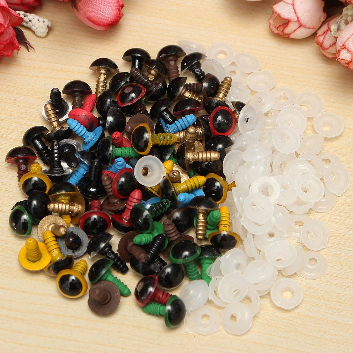 New 80Pcs/40Pairs 10mm Mix Color Plastic Safety Eyes DIY For Teddy Bear Stuffed Toy Snap Animal Puppet Doll Craft Toy Part(China (Mainland))