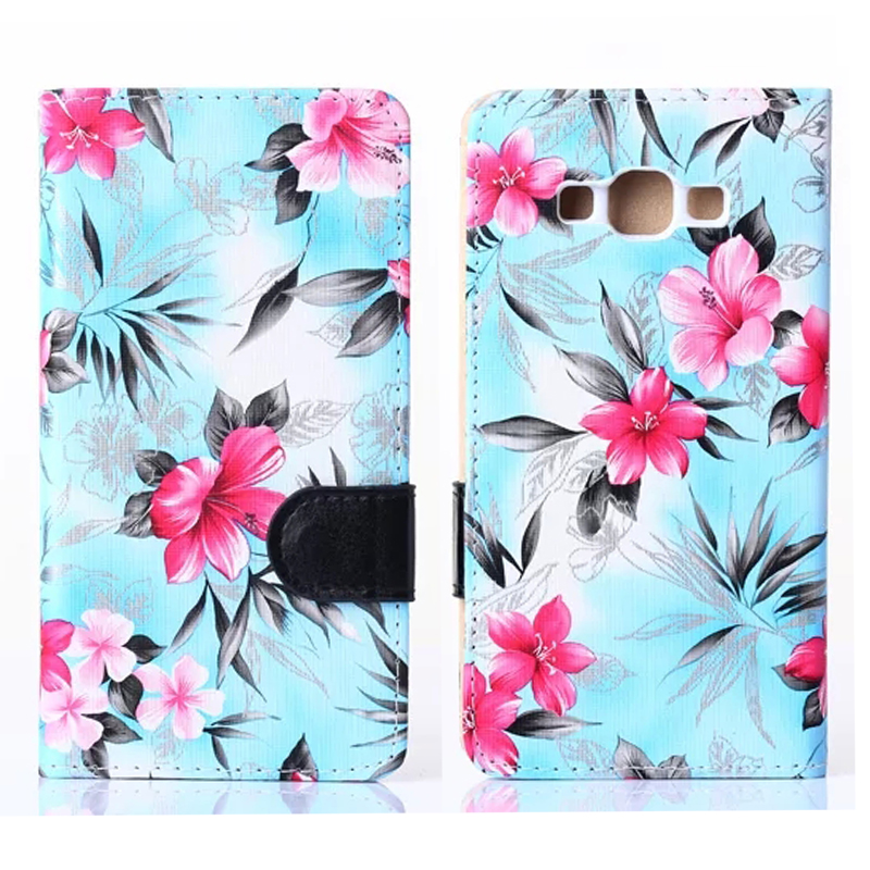 2016 New Fashion Beautiful Flower PU Leather Stand Flip Wallet Cover Case Samsung Galaxy A3 A5 A7 Phone Bag Cases Back Cover