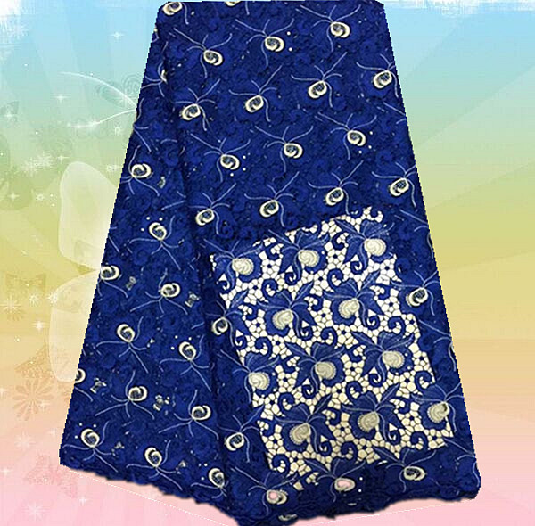 Py35 1 navy blue fashion style embroidered guipure lace fabric high