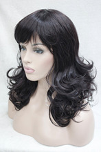 Hivision charming off black mix eggplant purple medium length curly women's bangs wig free shipping