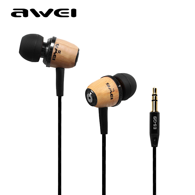 Awei ESQ9 In Ear Monitors Professional Bass Earphone Headphone Stereo Wood Headset Earbuds for MP3 MP4 Mobile Phone Computer(China (Mainland))