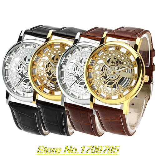 2015 New Arrival Mens Womens Roman Numerals Faux Leather Band Skeleton Analog Sports Dress Wrist Watch<br><br>Aliexpress