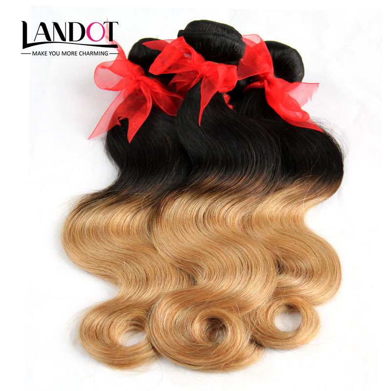 Ombre Human Hair Extensions Two Tone Honey Blonde Brazilian Body Wave Virgin Hair Weave Bundles 1B/27# Cheap Rosa Hair Products