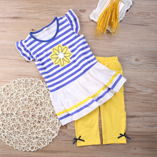 2016 New Girls Clothing Sets Baby Kids Clothes Children Clothing 2 PCS Set Short Sleeve Striped T Shirt + Pants Girls Clothes(China (Mainland))
