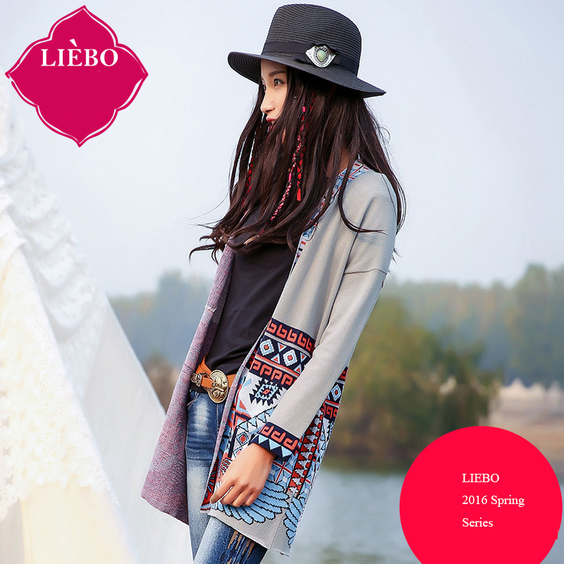 LIEBO 2016 Spring New Arrival Bohemia Jacquard Weave Cardigan Women Open Stitch V-neck Geometry Printed Knitted Top 51152042Одежда и ак�е��уары<br><br><br>Aliexpress