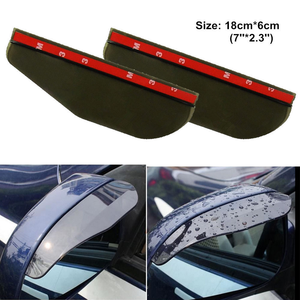 2 Pcs Black Universal Car Flexible Plastic Rear Mirror Rain Board Eyebrow