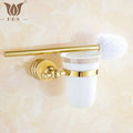 62 Jade Series Golden Polish Brass Jade Toilet Brush Holders Bathroom Accessories ceramic cup Sanitary Wares