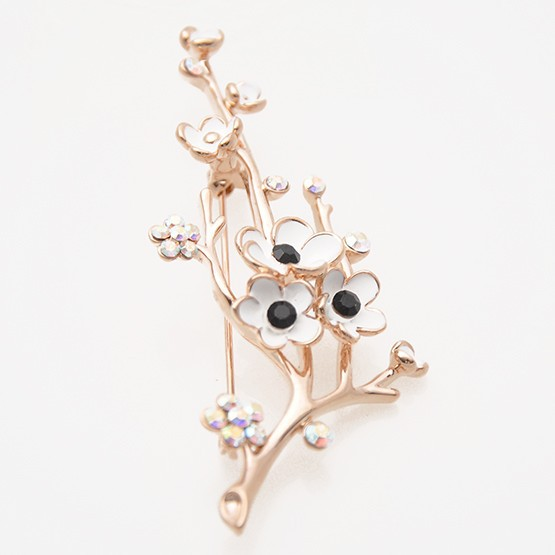 2016 New gold alloy rhinestone plum flower plant brooch pin garment jewelry flowers women scarf brooch for dress