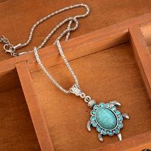 1PC Women Boho Turquoise Rhinestone Turtle Shaped Pendant Necklaces Charms Collares Mujer(China (Mainland))