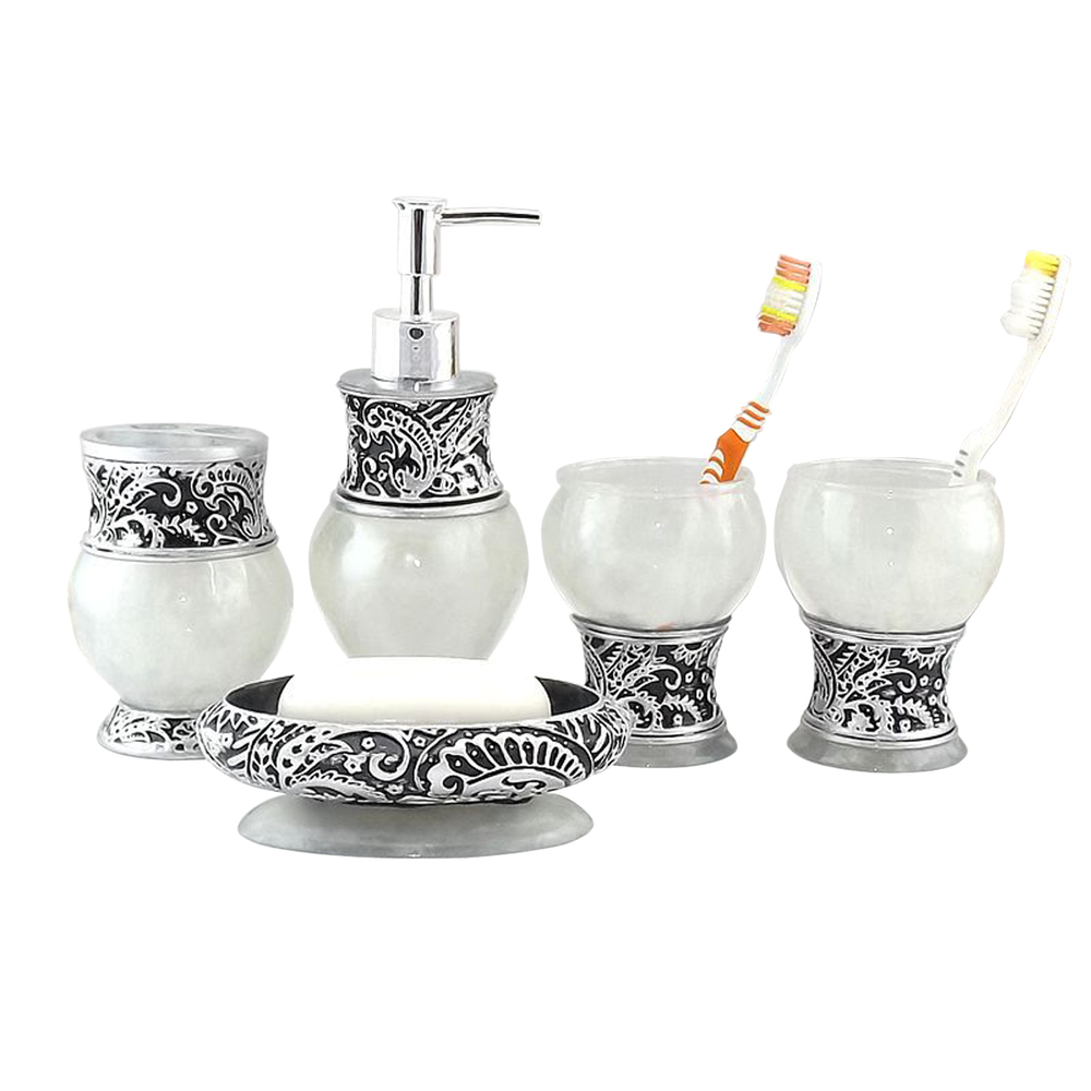 New 5pcs resin bath sets royal bathroom accessory set Soap lotion dispenser set