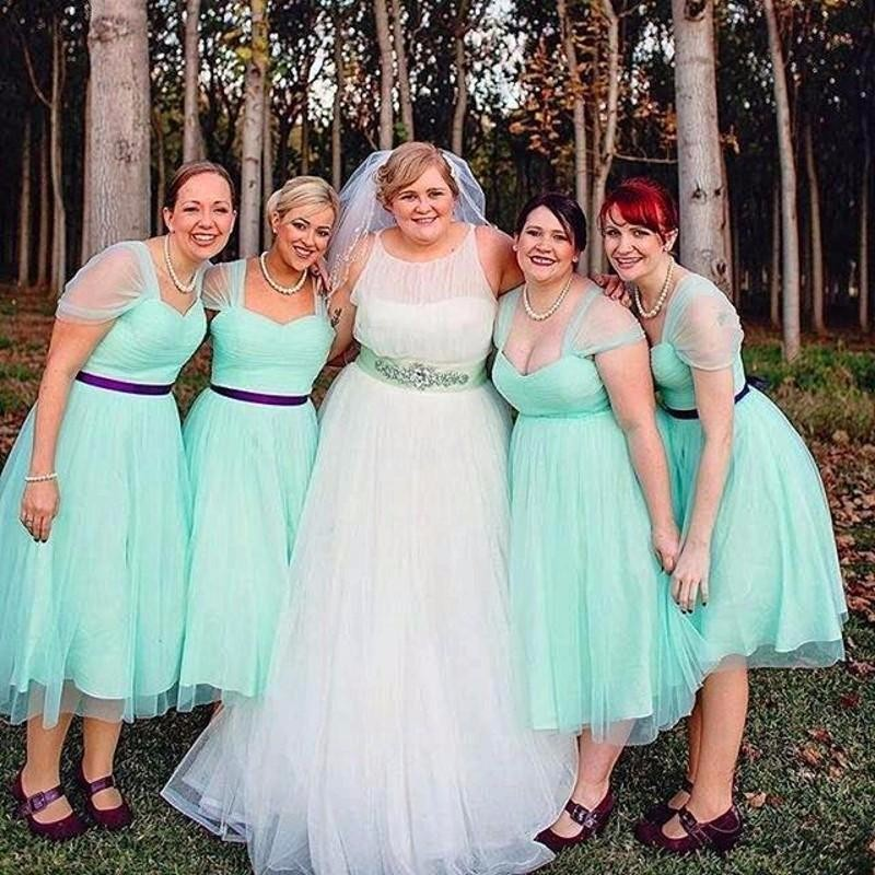 Modern youth wedding dresses: Mint green bridesmaid dresses for sale