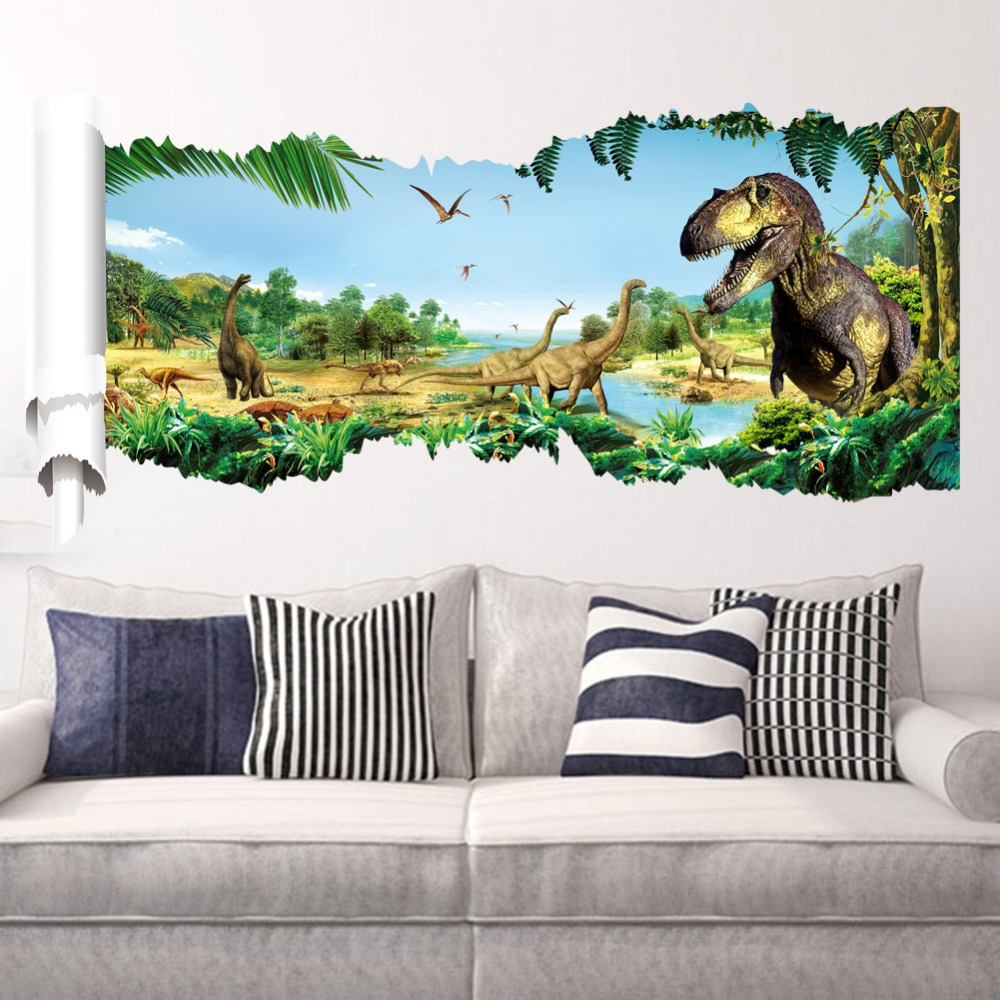 Buy 3d cartoon dinosaur wall stickers kids rooms decor diy mural ...