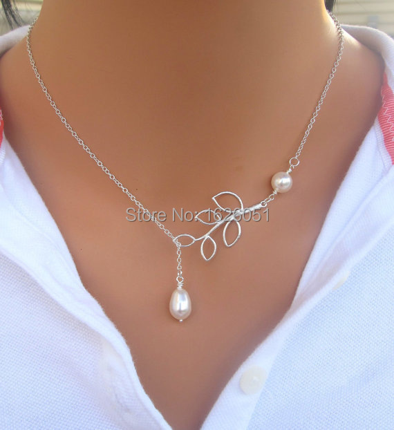 Free Shipping Hot Sale New Arrival Silver Fashion Jewelry Double Pearl Leaves Sexy Necklace