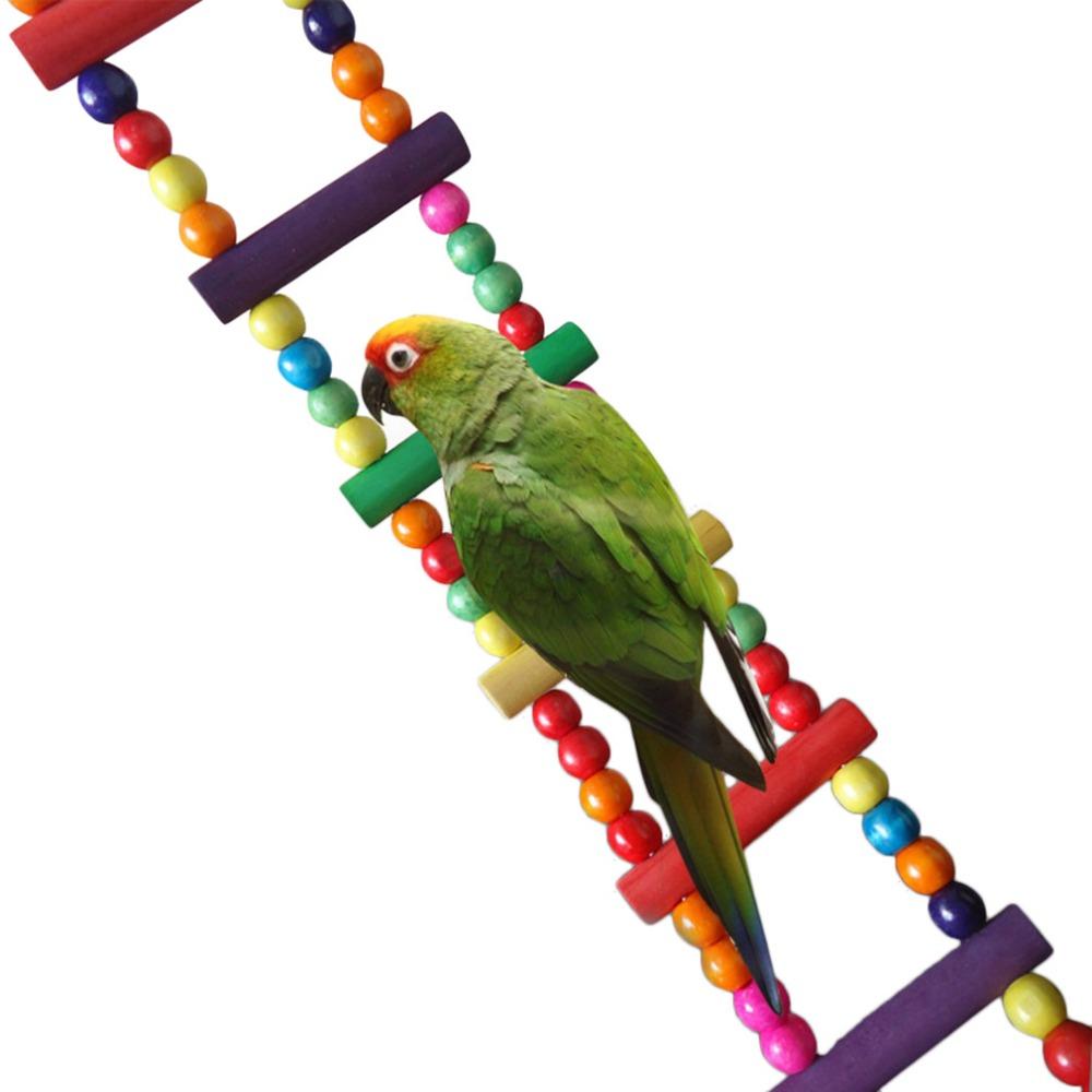 new Funny Wooden Hamster Rat Gerbil Pet Parrot Bird Rodent Ladder Bridge Toys W/Hooks bird toy(China (Mainland))