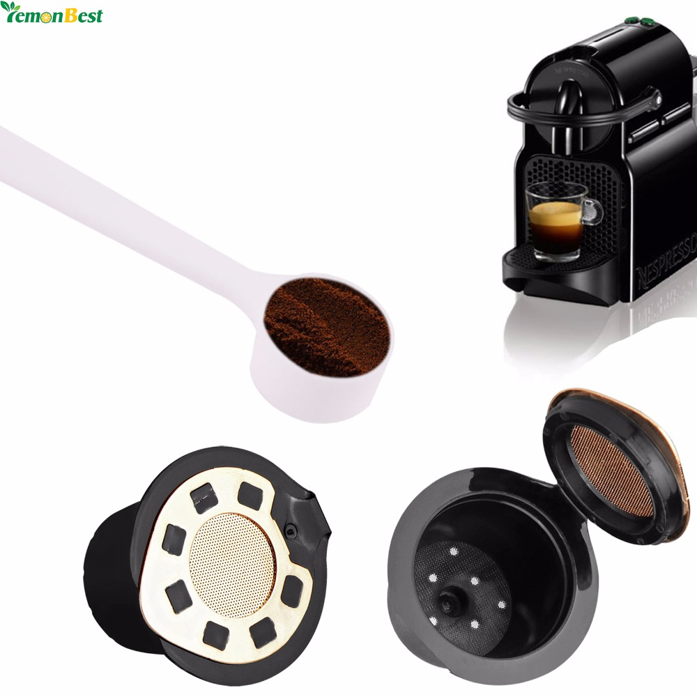 2Pcs 24K Gold Refillable Reusable Coffee Capsule Filter Cup Compatible For Nespresso With A Free Coffee Spoon(China (Mainland))