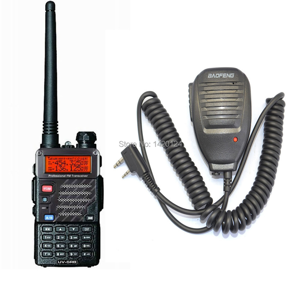 New Black BAOFENG UV-5RB walkie talkie VHF/UHF Dual Band two way Radio + BaoFeng Speaker Mic +free earpiece+free shipping(China (Mainland))