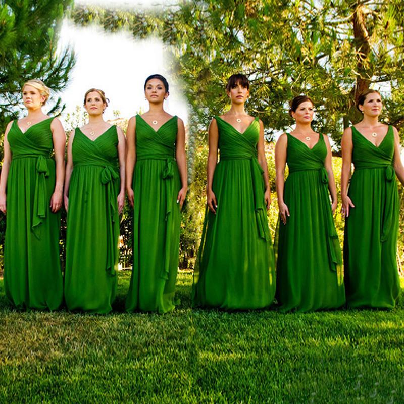 Emerald Green Bridesmaid Dress 2016 Vestido De Festa De Casamento Chiffon Cap Sleeve Bridesmaid Dresses(China (Mainland))