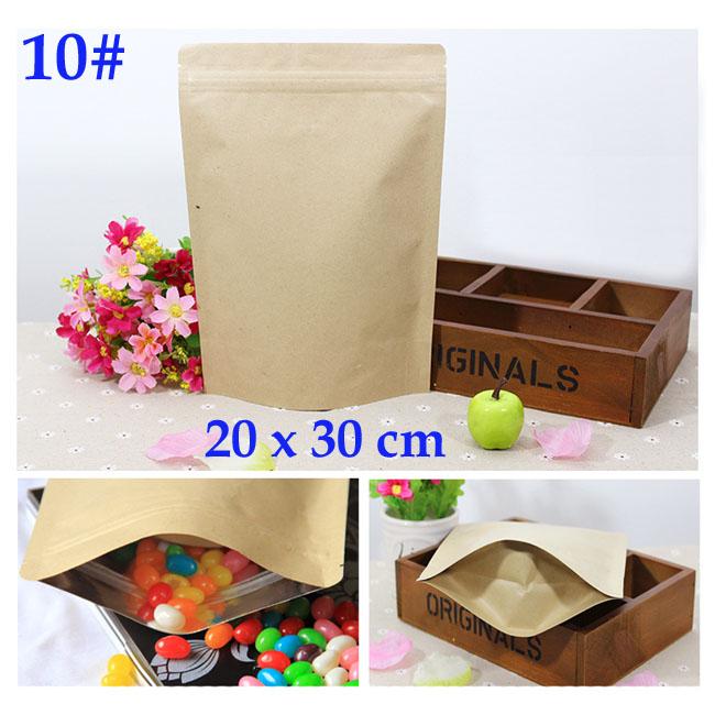 20x30 cm kraft foil bags wide base Aluminum foil zip lock bags food coffee gift packaging wholesale 50 pcs/lot(China (Mainland))