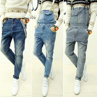 2014  Winter Newest Mens denim jumpsuit bib pants trousers long straight overalls suspenders jeans men,M/L/XL/XXL,Ripped Stylish