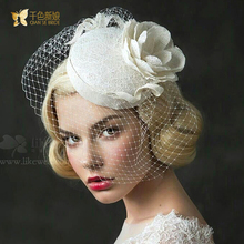 New Bride Hats handmade Linen Floral fascinator Women Tiara sheer veil Hair ornaments Wedding Photography Accessories piaomiao(China (Mainland))