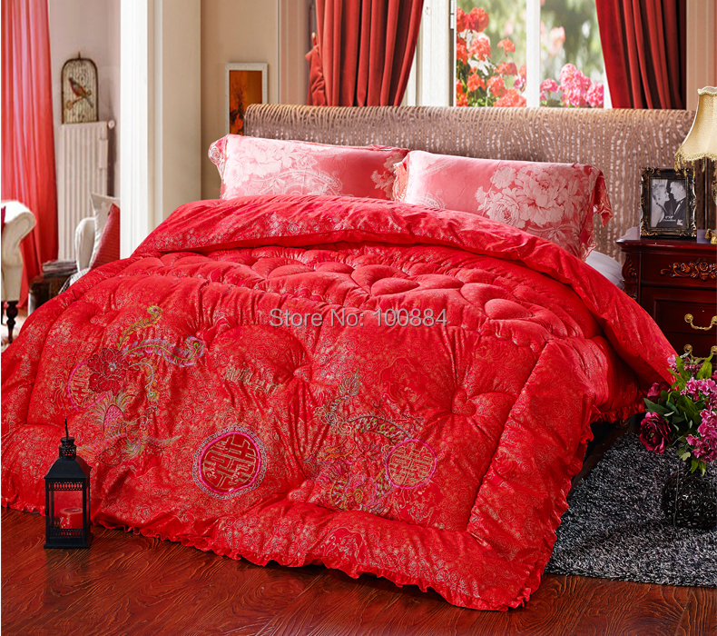 Dragon and Phoenix wedding quilting,220*240cm 3.5kg weight filler comforte bedding,king size red wedding bedding comforter(China (Mainland))