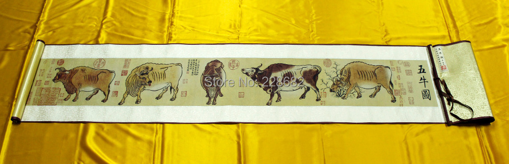 FREE SHIPPING famous Chinese 100% silk brocade scroll painting Flirting Hut breeze expensive gift(China (Mainland))