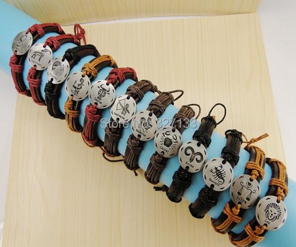 Fashion Bracelet,(12pcs/lot),2014 New Charm 12 Constellations Genuine Leather Bracelets Fashion Jewelry Men &amp; Women Bangle S3950<br><br>Aliexpress