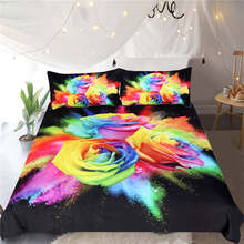 BeddingOutlet Blue Enchantress Bedding Set 3D Print Duvet Cover Set Colorful Roses Floral Bedclothes 3pcs Watercolor Quilt Cover(China)