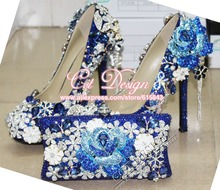 peacock and rose flowers rhinestone and diamond blue bridal shoes with matching bags wedding party high heeled pumps(China (Mainland))