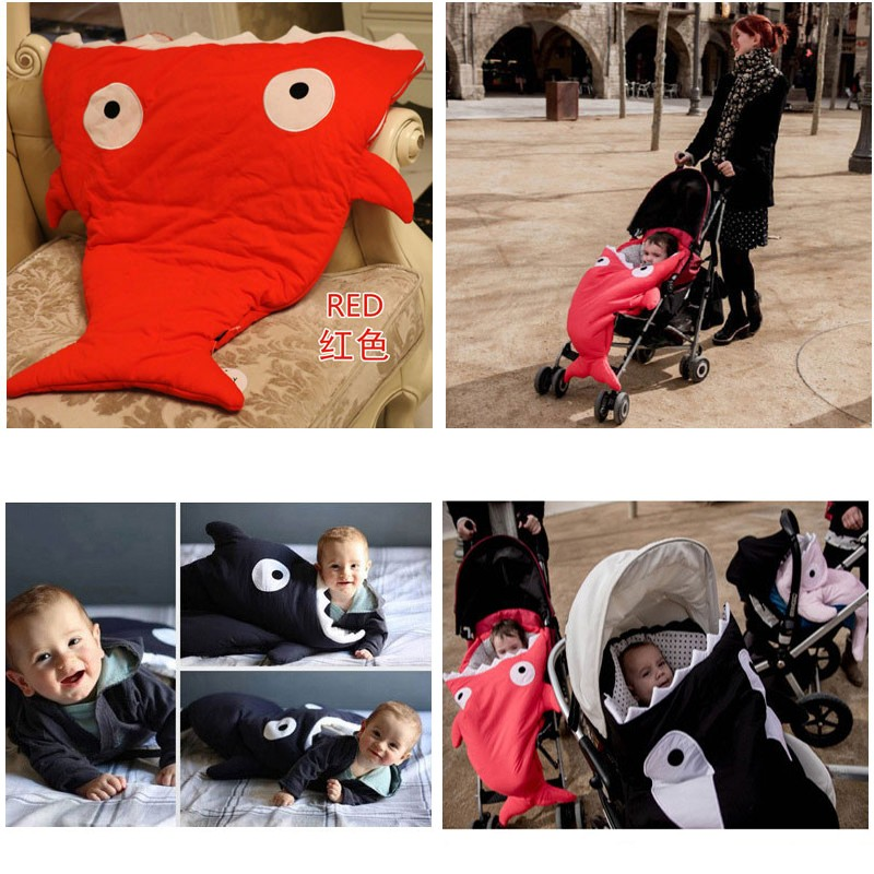 Cartoon Shark Baby Sleeping Bags born Winter Baby Stroller Blanket Swaddle Bedding Warm Cute Baby Sleepsacks -- MKE020 PTP