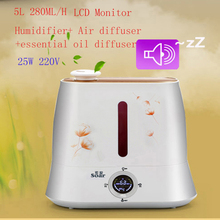 High Quality 5L LCD Monitor Ultrasonic Air Humidifiers Diffuseur Huile Essentiel 280ML/H Mist Maker Fogger Difusor Aromaterapia(China (Mainland))